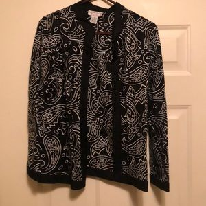 BLACK & WHITE BLAZER WITH WHITE PAISLEY DESIGN